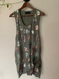Shakuhachi-  grey linen style tunic mini with sequins -  size 10