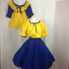 SQUARE DANCE Outfit Skirt + 2 Blouses Blue Yellow Ric Rac Trim