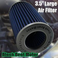 "Black Beat Motor 3.5"" 89mm Inlet Universal Cone Blue Air Filter  Truck Sport Car"