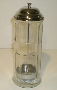 Vintage Table Craft Heavy Glass Straw Dispenser with Metal Lid