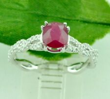 14k Solid White Gold Natural Diamond & Cushion Cut Ruby Ring 1.41 ct
