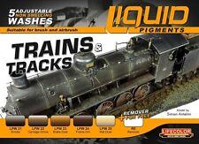 Trains & Tracks Railway Weathering Liquid Pigments Set Wash 6 Bottles Lifecolor