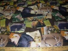 "~BTY~REGAL""BEAR ELK EAGLE ANIMALS PATCHES"" ~ UPHOLSTERY FABRIC FOR LESS~"