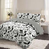 Grey Floral Leaf 100% Brushed Cotton Flannelette Quilt Duvet Cover Bedding Set
