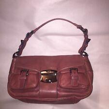 pre-loved authentic PRADA doe skin leather SHOULDERBAG PURSE$1800 deep rose pink