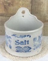 Vintage Cobalt Blue Decorated Pottery Stoneware Salt Box Wall Mount Crock