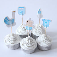 20 x It's A Boy Cake Picks Cupcake Toppers Flags Baby Shower Blue