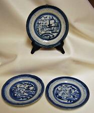 3 Antique Chinese Export CANTON Blue & White Porcelain Plates