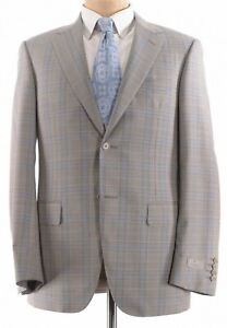 Canali NWT Sport Coat Size 40R In Tan With Light Blue & Brown Plaid Wool $1,495