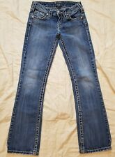 Silver AIko Bootcut Stretch Jeans Zip Up Light Wash Womens Size W 25/ L 31