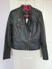 New Zara Faux Leather Black Jacket Size Medium with tags biker