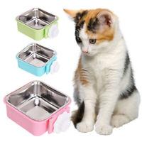 Pet Feeding Bowl Anti Skid Stainless Steel Food Water Feeder Hanging Fixed Dish