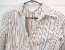 PETITE SOPHISTICATE Stretch Button down Top Blouse Tan Stripe narrow ruffle