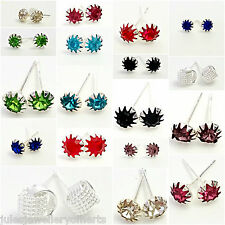 Stud Earrings CZ Stone Silicone Stopper Backing Silver Plated