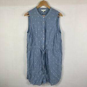 H&M Womens Dress Size 16 Blue Sleeveless Round Neck Button Front Tie Waist
