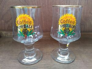 Two Retro Vintage Coffee Specials Glasses
