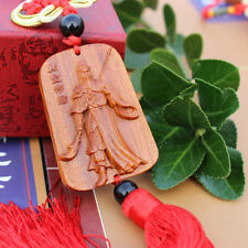 1pc Wood Carving Red Chinese Kwan kung Statue Sculpture Car Pendant