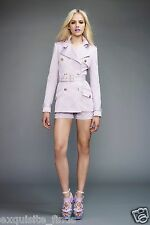 New VERSACE Polka Dot Pink Belted Trench Coat Jacket 38