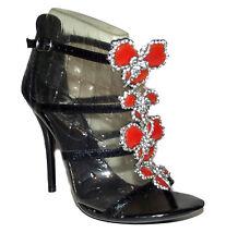 NW Black Ankle T strap HIGH HEEL strappy Orange jewel Rhinestone open Sandal 7