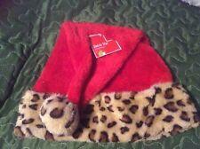 "Red Fleece Santa Hat with Beige Brown Black Leopard Print Trim/Ball 16""X12"" Nwt"