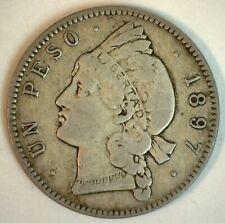 1897 A Dominican Republic Silver Peso Coin Circulated You Grade Nice Coin