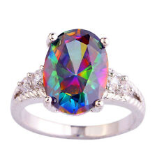 Rainbow White Topaz Citrine Fashion Jewelry Silver Ring Size 6 7 8 9 10 11 12