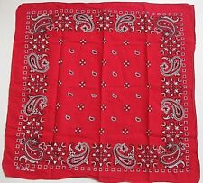 Vintage Red Hankerchief All Cotton Bandana Rockabilly Classic Paisley Euc Color