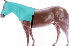 Horse Hood Slinky Lycra Zippered Mane Braid Shoulder Guard Green Small Size