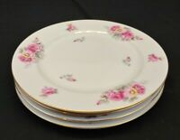 Yamaka China Pictured Rose Set of 4 Dinner Plates Japan White w/ Rose Flowers