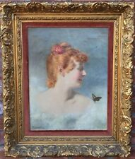 Nuremberg Germany Artist Fritz Steinmitz-Noris Painting. Woman With Butterfly.