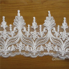 1 yd Bridal Lace Trimming Embroidered Trim Ribbon Wedding Dress Floral Edging