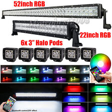"52Inch + 22"" LED LIGHT BAR RGB Strobe Bluetooth + 6pcs 3"" CREE HALO Ring PODS"