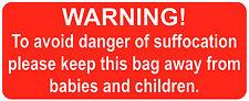 Bolsas de Clips - Advertencia! Danger Of Pegatinas / Seguridad Etiquetas