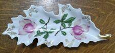 """Vtg Mitterteich Bavaria Germany Fine Porcelain Leaf Shape Rose Plate Dish 9.5"""""""