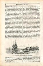 Île de Gorée baie de Dakar Sénégal / Îles Sandwich Hawaï Hawaïen GRAVURE 1843