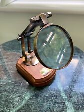 Antique Distressed Style Desk Top Magnifying Glass In Brass & Wood Objet D'art