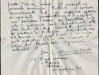 Autografo del filosofo Lorenzo Giusso (Napoli, 1900 - Roma, 1957)