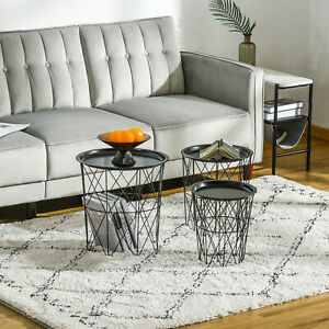Set of 3 Nesting End Tables with Storage, Round Side Tables with Metal Frame