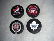 (4) Hockey Pucks Canada Montreal Canadiens 2003 Stanley Cup Toronto Maple Leafs