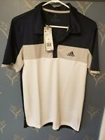 Adidas Men's Blue/White Colorblock Small ClimaLite Short Sleeve Polo Shirt NWT