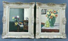 Paire de tableaux Juvin Juliette vers 1950 Fleurs