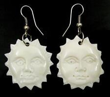 SUN FACE BONE CARVING earrings: CA396-A