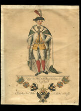 c1760 Coper Plate Engraving Emperor Paul I Russia Chevalier Order of St Andrew
