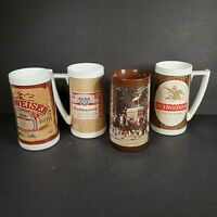 Lot of 4 BUD Budweiser Beer Thermo-Serv Insulated Plastic Mug Stein 16oz 70s