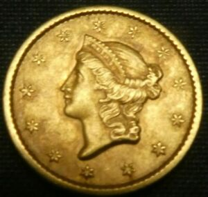 1852 Type 1 G$1 Gold Dollar Us Coin ANACS XF45