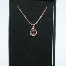 Natural Round Pink Morganite Solitaire Pendant Necklace 14k Rose Gold over 925SS