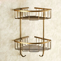 Bathroom 2 Tier Wall Mounted Shampoo Storage Basket Shelves Corner Shelf