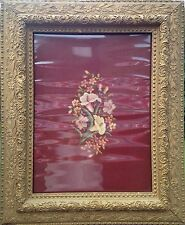 Antique Vintage Large Framed Floral Needlepoint Art circa 1940s 1950s