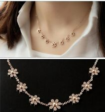 "16+2"" Stainless Steel 14K Rose Gold 7 Daisy Flower Charms Womens Chain Necklace"
