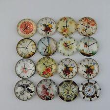 12pcs Round Glass Mixed Pattern Cameo Cabochon Flat Back Craft 25*25*6mm 39099